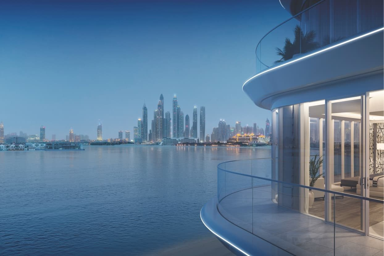 The balcony of a luxury waterfront apartment on the Palm Jumeirah, Dubai