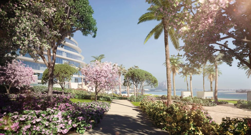 The landscaped gardens of the W Residences apartment complex Dubai