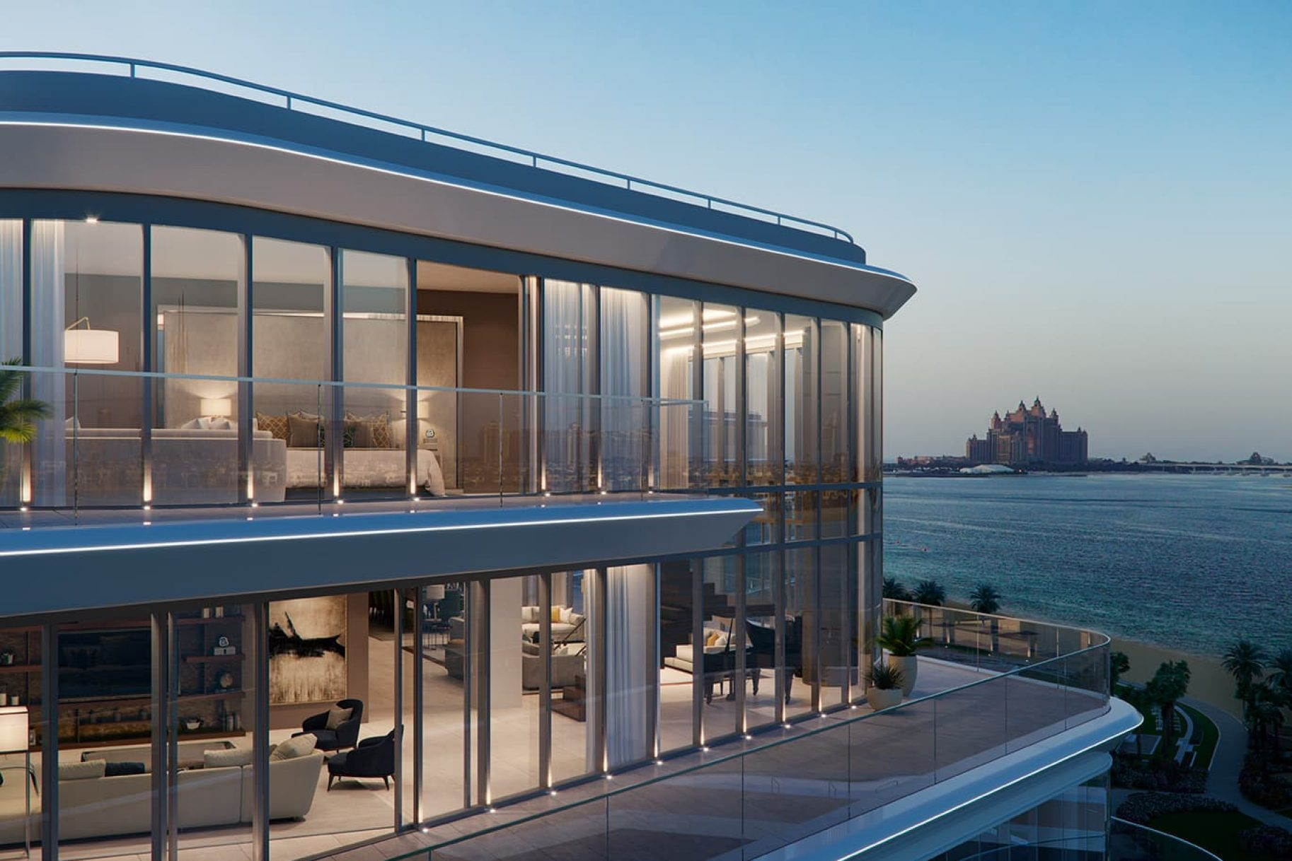A balcony of a luxury waterfront apartment with views to Dubai