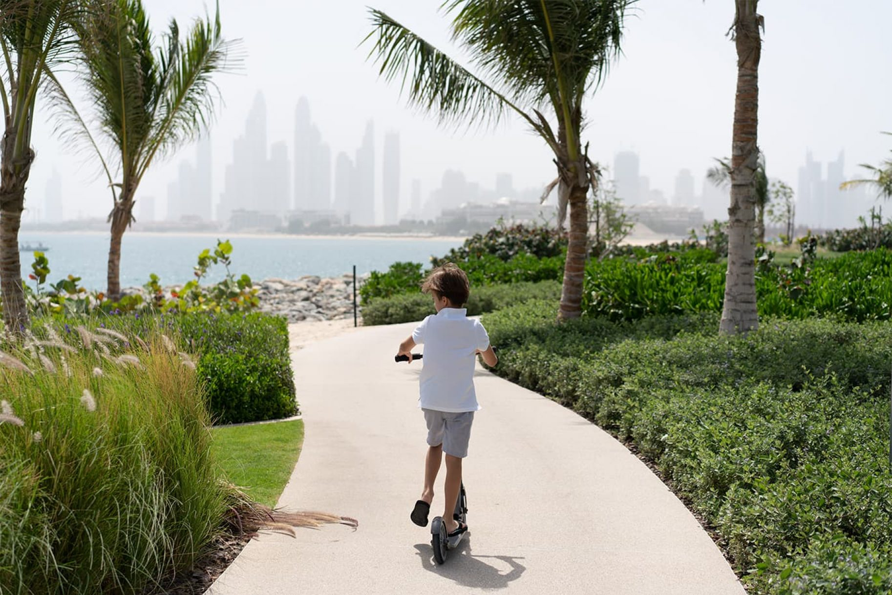 A boy scoots down a palm lined path with the city of Dubai in front of him