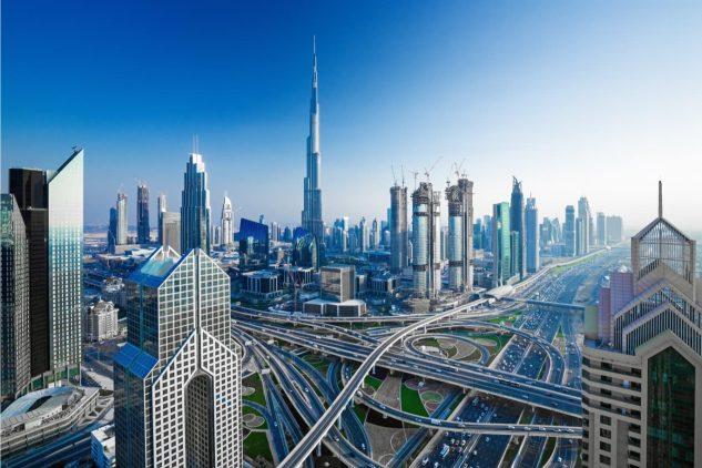 An overhead view of downtown Dubai featuring the Burj Khalifa
