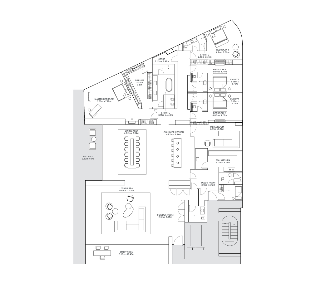 A floorplan of a W Residences luxury apartment Palm Jumeirah, Dubai