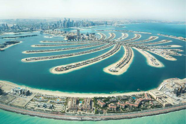 An aerial photograph of the Palm Jumeirah, Dubai