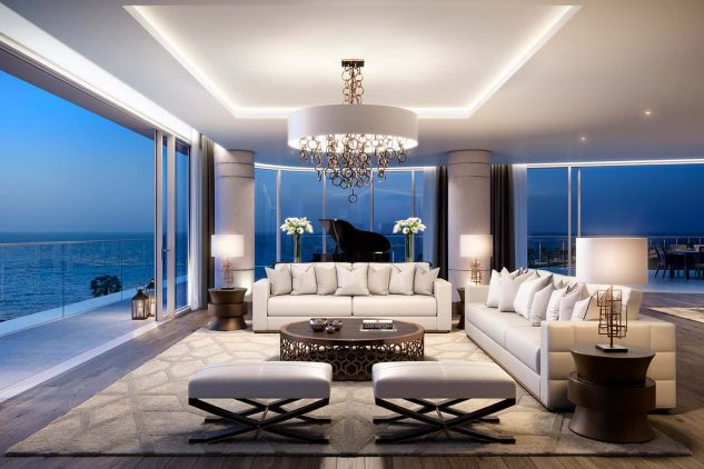 The interior of a luxury panorama penthouse in Dubai
