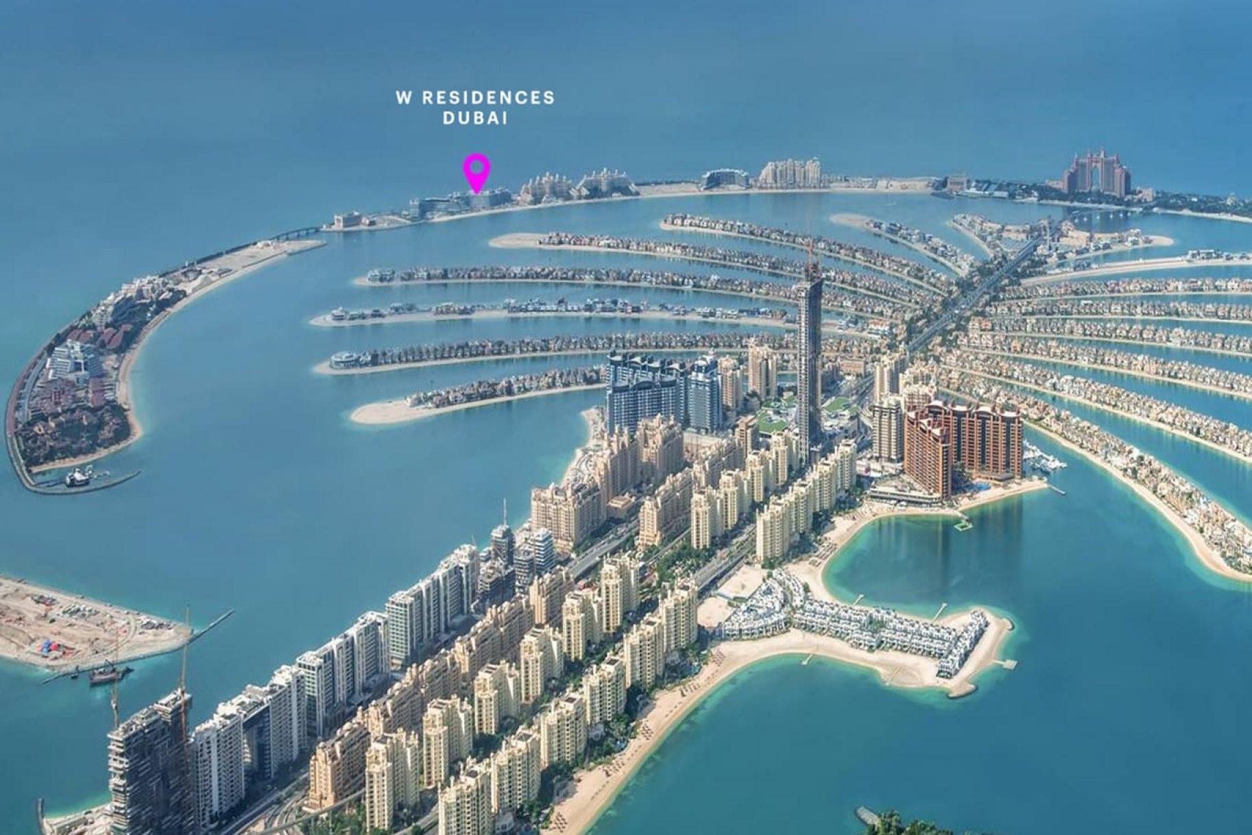 A pointer indicates the location of W Residences Dubai development of luxury apartments on Palm Jumeirah, Dubai