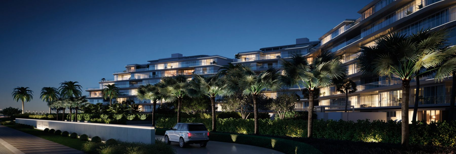 The W Residences luxury apartment complex at night
