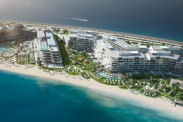 An aerial view of the W Residences Dubai luxury waterfront apartments located in Palm Jumeirah
