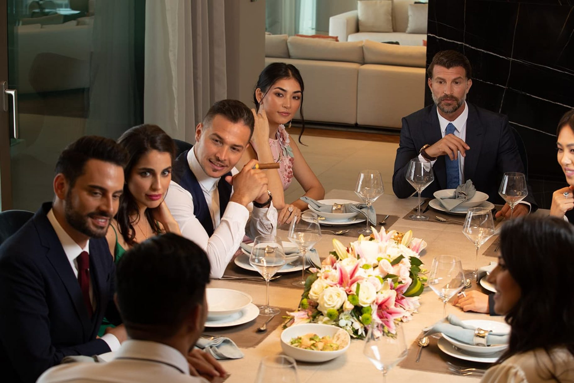 A dinner party within the luxurious surroundings of a W Residences apartment Dubai