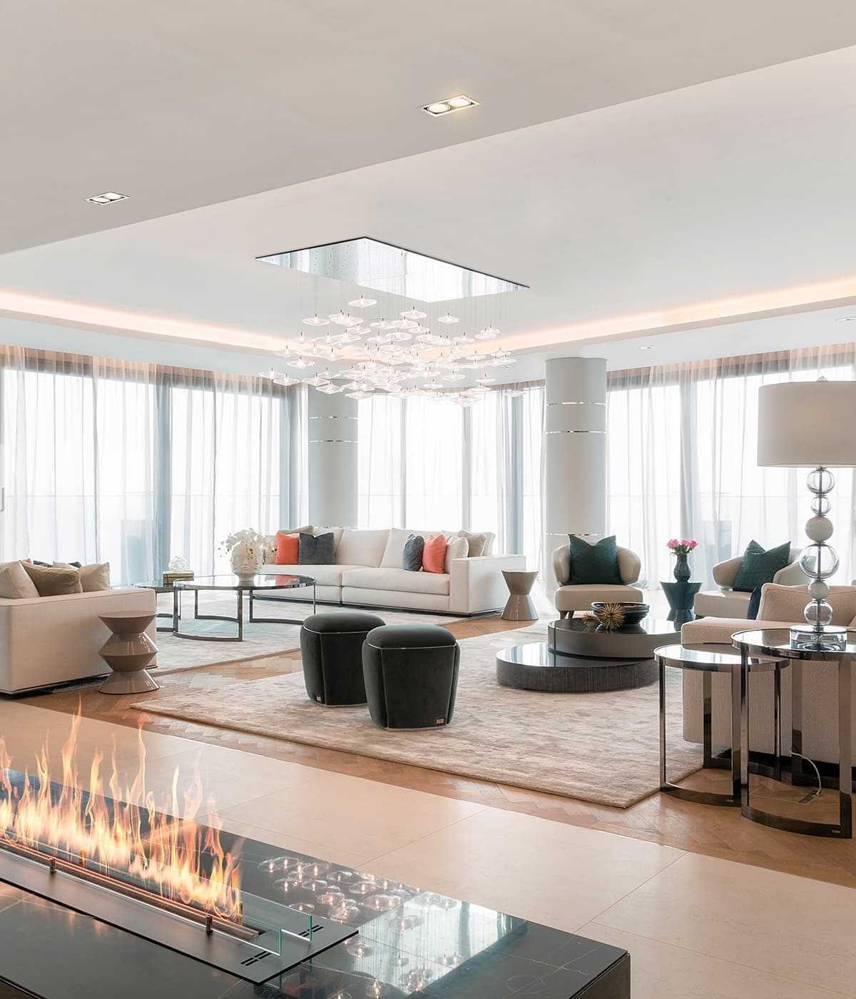 The interior of a luxury waterfront penthouse in Dubai
