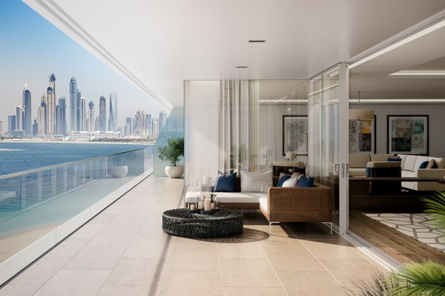 A balcony overlooking the Dubai skyline - on of the luxury apartments with city views from W Residences