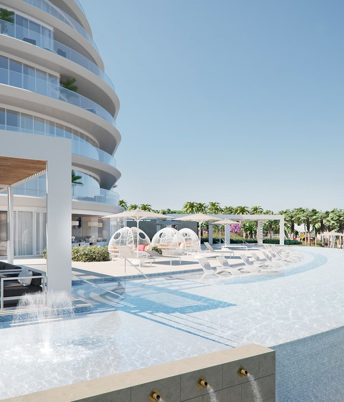 A luxury pool at the W Residences apartments in Palm Jumeirah, Dubai