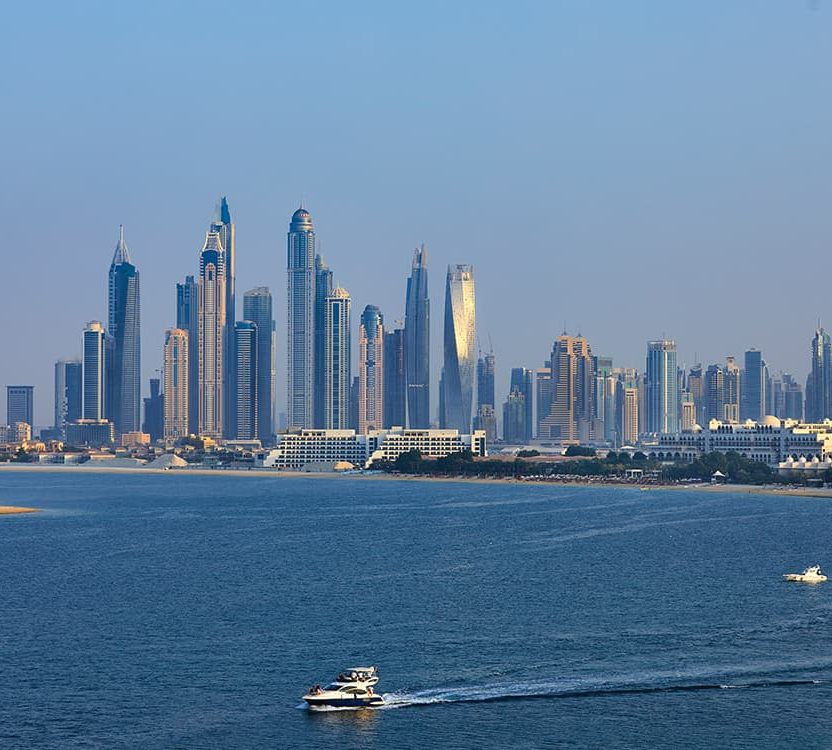 The Dubai city scape - a view from the W Residences luxury apartments Palm Jumeirah